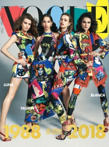 Birgit Kos Luna Bijl Yasmin Wijnaldum and Blanca Padilla by Emma Summerton Vogue Espana April 2018